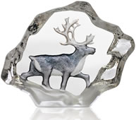 Reindeer Crystal Figurine With Color