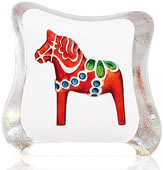 Crystal Dalecarlia Horse Figurine, Red/Mini