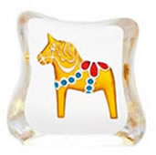 Crystal Dalecarlia Horse Figurine, Yellow/Mini