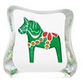Crystal Dalecarlia Horse Figurine, Green/Mini