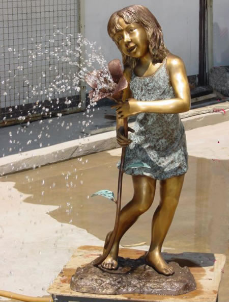 Girl with Flower Bronze Fountain