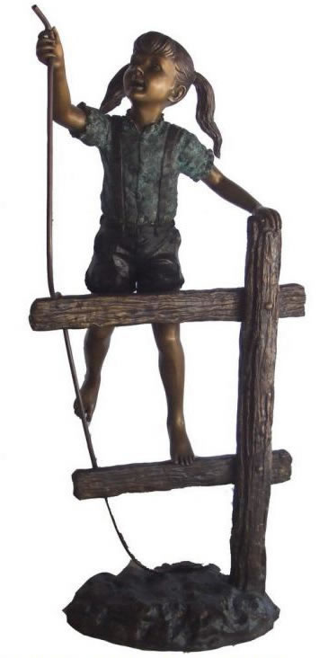 Girl on Fence Bronze Sculpture