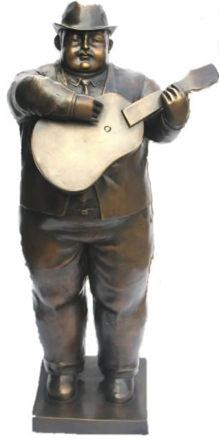 Botero Man with Guitar Bronze Statue