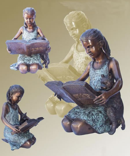 Girl Reading Book with Puppy- Bronze Statue