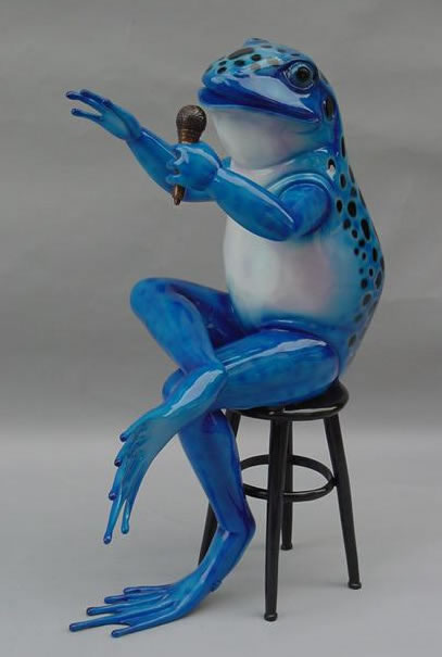 Colorful Frog Singing- Bronze Statue
