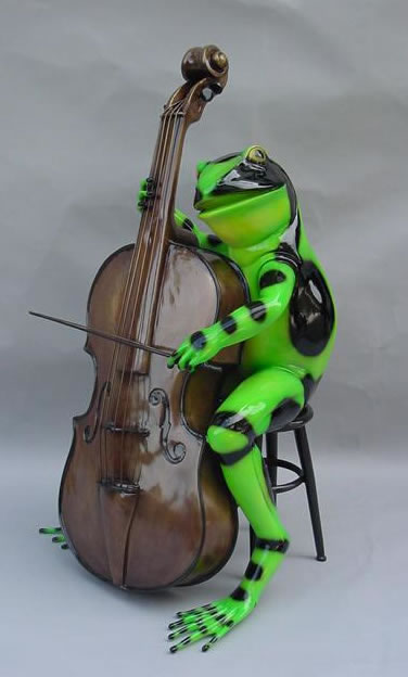 Colorful Frog with Cello- Bronze Statue