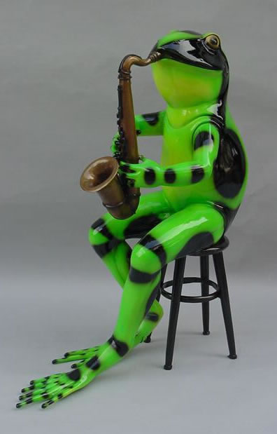 Colorful Frog with Saxophone- Bronze Statue