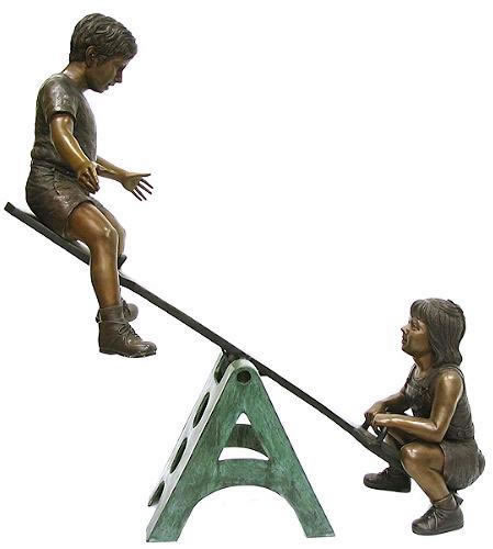 Boy and Girl on Seesaw- Bronze Sculpture