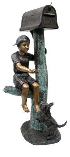 Boy with Dog-Bronze Mailbox
