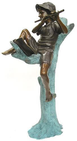 Boy Playing Flute in Tree Bronze Fountain