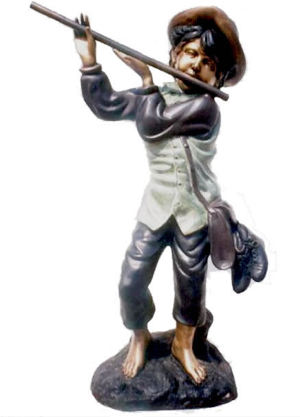 Boy Playing Flute Statue