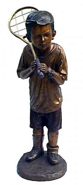 Bronze Boy with Tennis Racket