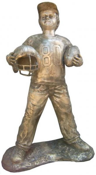 Boy With Football Sculpture