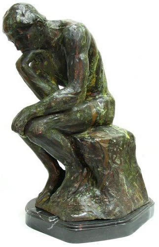 Bronze Thinker Statue on Marble Base