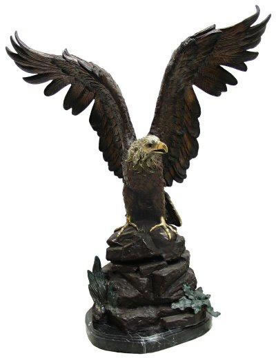 Bronze Eagle Perched on Rock Statue