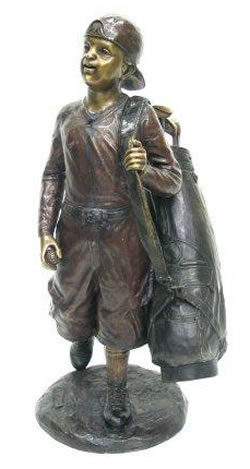 Bronze Boy With Golf Bag Statue