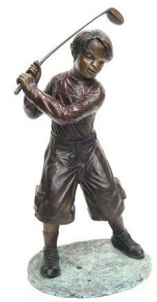 Bronze Boy Playing Golf Statue