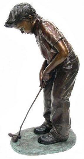Marvelous Bronze Boy Putting Golf Statue