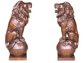 Bronze Lion Pair Sitting on Ball, 40 Inch