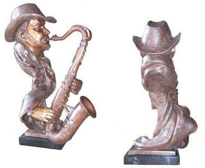 Bronze Saxophone Player Bust