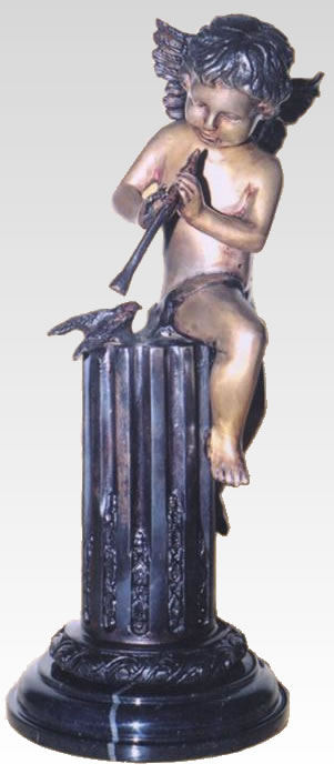Cherub on Pedestal Playing Music Statue
