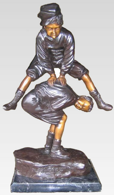 Boys Playing Leapfrog Bronze Statue