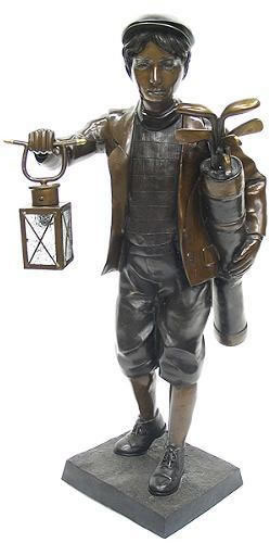 Golf Caddy With Lantern Bronze Statue, Outdoor Golf Statues