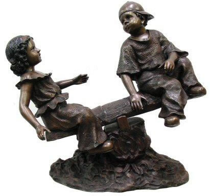 Boy and Girl on Seesaw Bronze Statue