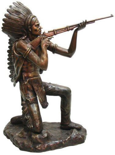 Indian Shooting Rifle Bronze Statue