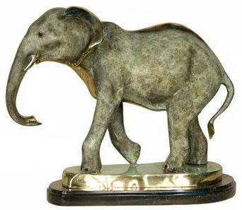 Bronze Elephant III Statue on Base