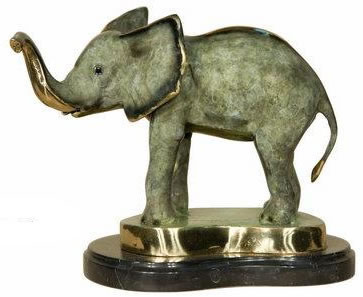 Bronze Elephant IV Statue on Base