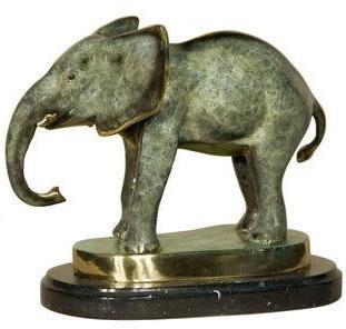 Bronze Elephant V Statue on Base