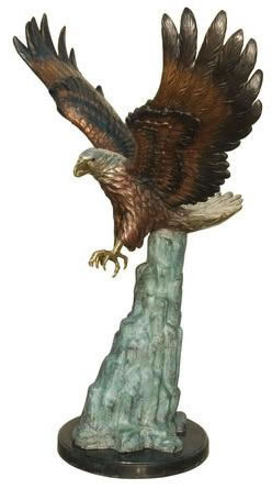 Bronze Eagle on Rock I Statue