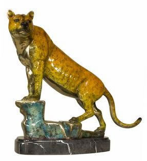 Bronze Tiger on Rock Statue