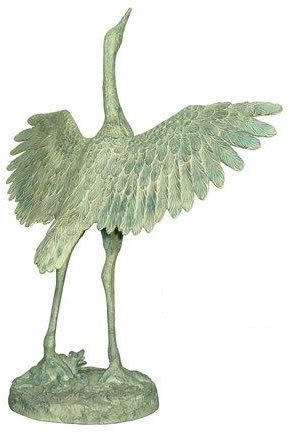 Crane Stretching Wings Statue