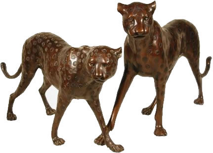 Bronze Cheetah Pair Sculptures