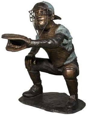 Bronze Boy Baseball Catcher