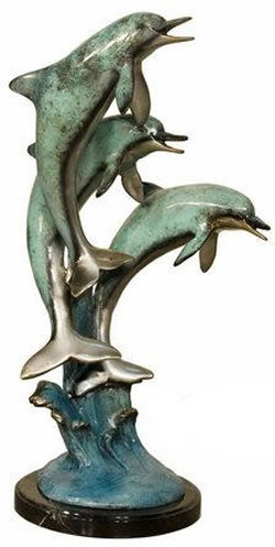 Three Jumping Dolphins Marble Statue