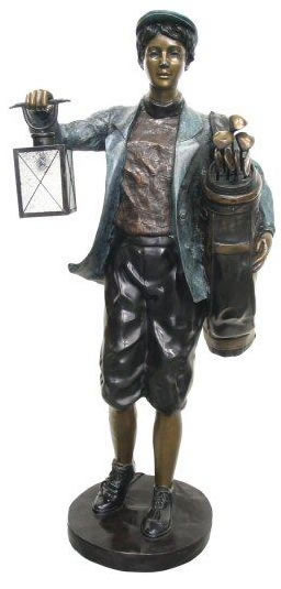 Bronze Boy Golf Caddy With Lantern