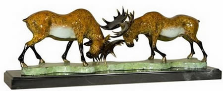 Painted Bronze Moose Statue on Marble Base