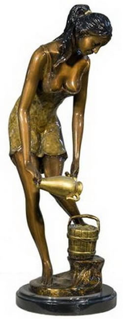 Beautiful Lady With Vase- Bronze Statue