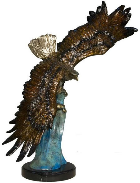 Bronze Eagle on Wave Statue with Marble Base