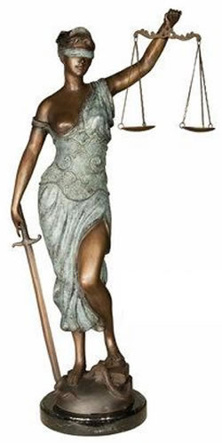 Blind Lady Justice - Bronze Statue on Marble Base