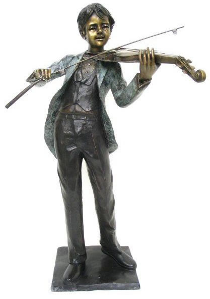 Boy Playing Violin Bronze Sculpture