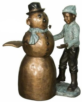 Boy With Snowman Bronze Sculpture