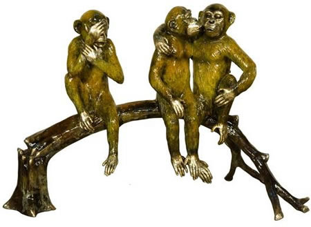Three Monkeys on Branch- Bronze Statue/Special Patina