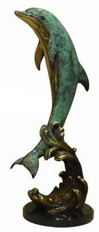 Bronze Dolphin on Wave Statue- Special Patina