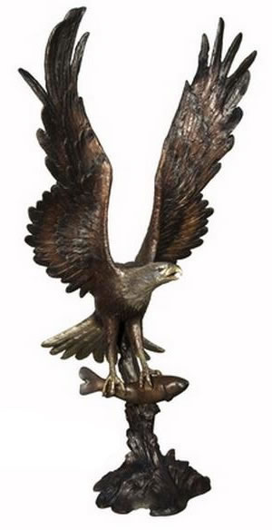 Bronze Eagle Clutching Fish Sculpture