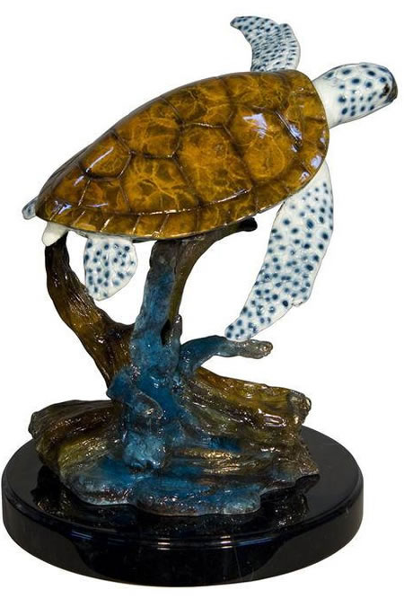 Bronze Sea Turtle on Base- Special Patina