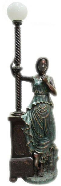 Bronze Woman Holding Lamp Post